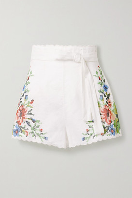Zimmermann Juliette Belted Scalloped Embroidered Linen Shorts - Ivory