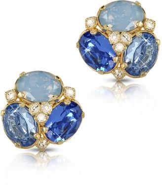 Forzieri Blue Crystal Clip-on Earrings