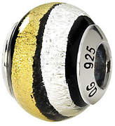 Murano Prerogatives Sterling White & Gold Italian Glass Bead