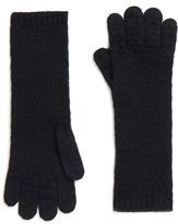 Johnstons of Elgin Black Cashmere Tuck Stitch Gloves