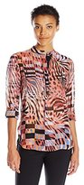 Anne Klein Women's Cyber Printed Oxford Tunic