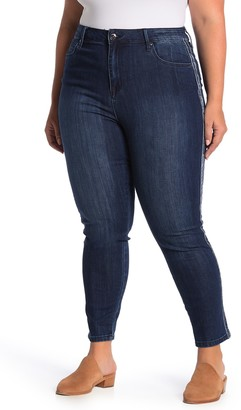 Seven7 Velour Trim Ultra High Waisted Skinny Jeans (Plus Size)