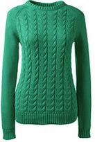 Lands' End Women's Petite Drifter Cable Sweater-Emerald Gulf