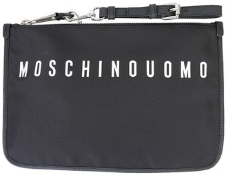 Moschino Black Nylon Clutch W/logo And Detachable Wristlet