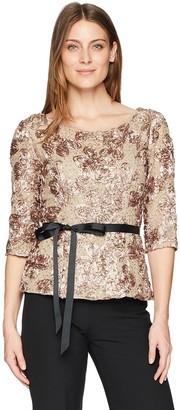 Alex Evenings Women's Rosette Blouse Shirt (Missy and Plus)