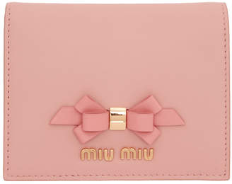 Miu Miu Pink Bow Bifold Wallet