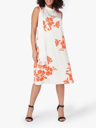 Live Unlimited Curve Placement Floral Midi Dress, White