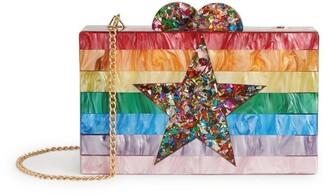 Bari Lynn Rainbow Stripe Box Clutch Bag