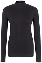 Fat Face Turtle Neck Ribbed Top, Black