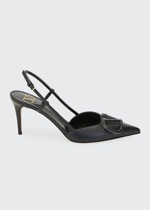 Valentino V-Logo Flat Leather Slide Sandals