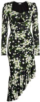Michael Kors Floral Ruched Midi Dress