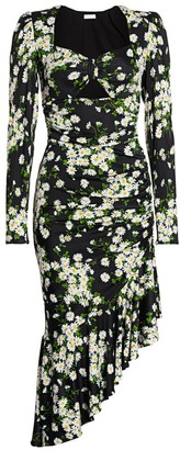 Michael Kors Floral Ruched Midi Dress