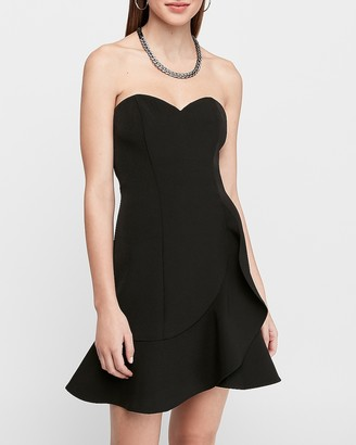 Express Strapless Sweetheart Ruffle Wrap Mini Dress