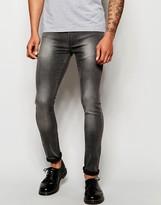 Religion Hero Super Skinny Jeans In Ice Wash - Grey