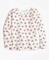 Brooks Brothers Floral Printed Cotton Stretch Blouse