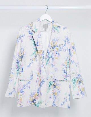 ASOS DESIGN dad suit blazer in floral print