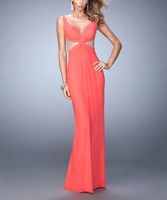 La Femme Women's Special Occasion Dresses Pink - Pink Grapefruit Rhinestone Sheer-Back Sleeveless Sweetheart Gown - Women