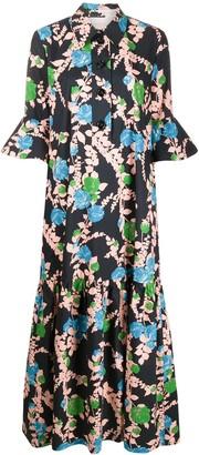 La DoubleJ Floral Print Maxi Shirt Dress