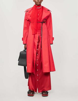 Sacai Belted cotton-blend coat