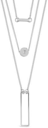 Sterling Forever Rhodium Plated Cz Disk & Open Bar Layered Necklace