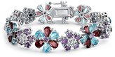 Bling Jewelry Blue Flower CZ Simulated Amethyst Bracelet Rhodium Plated