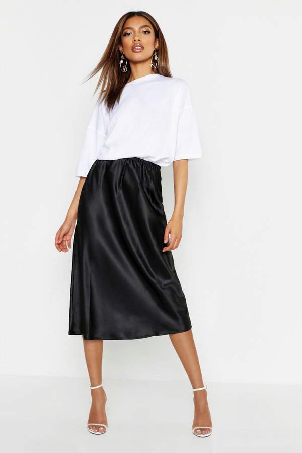 8ce7628d5a42 Black Bias Cut Skirt - ShopStyle
