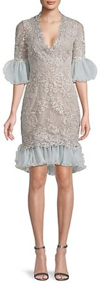 Marchesa Ruffle Metallic-Lace Sheath Dress