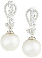 Majorica White Pearl & CZ Crystal Drop Earrings, 10mm