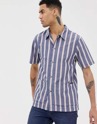 Nudie Jeans Svante cuban worker shirt in navy stripe