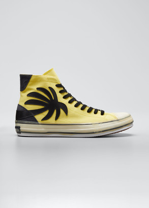 Palm Angels Men's Palm Tree Canvas High-Top Sneakers, Yellow