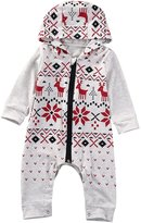 Ma&Baby Xmas Baby Boy Girl Clothes Set Hooded Jumpsuit Romper Playsuit Outfits (6-12 Months)