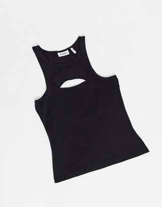 Weekday Taddea organic cotton cut-out detail tank top in black