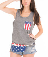 Venley Women's Tank Tops Tri-Grey - Gray Stars & Stripes Pocket-Accent Tank - Women