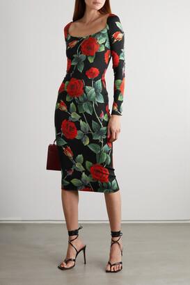 Dolce & Gabbana - Floral-print Stretch-silk Midi Dress - Black