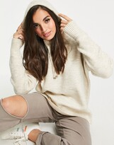 Thumbnail for your product : New Look knitted hoodie in oatmeal