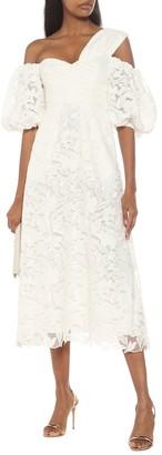 Self-Portrait Off-shoulder lace midi dress
