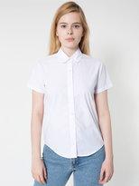 Poplin Round Collar Short Sleeve Button-Up