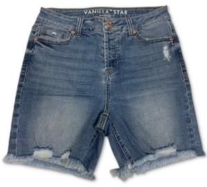 Vanilla Star Juniors' Cotton Ripped Denim Bermuda Shorts