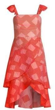 Alice + Olivia Azura Waterfall High-Low Ruffle Dress