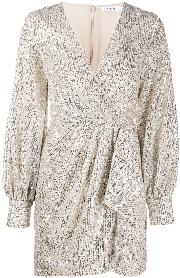 Amen Sequined Wrap-Style Cocktail Dress