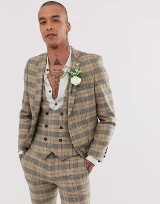 Twisted Tailor Ace super skinny wedding suit jacket with chain in heritage brown check-Tan