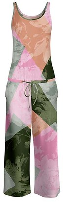 Lily Women's Jumpsuits GRN - Green & Pink Abstract Tie-Waist Sleeveless Jumpsuit - Women & Plus