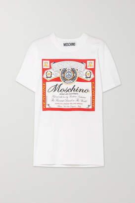 Moschino + Budweiser Printed Cotton-jersey T-shirt - Red