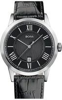 HUGO BOSS BOSS Round Case Leather Strap Watch, 42mm