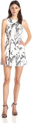 Cynthia Rowley Women's Exposed Seams Dress in Bonded Satin Print