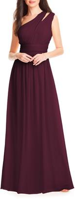 #Levkoff Chiffon One-Shoulder Gown
