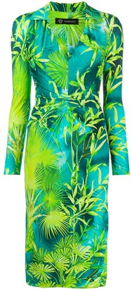 Versace Leaf-Print Knee-Length Dress