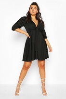 Thumbnail for your product : boohoo Plus Knot Front Skater Dress