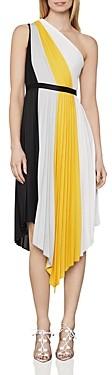 BCBGMAXAZRIA Plisse Pleated Colorblocked Dress