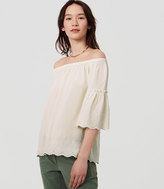 LOFT Petite Eyelet Off The Shoulder Top